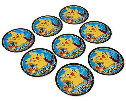 american greetings pokemon round plate 8 count 9