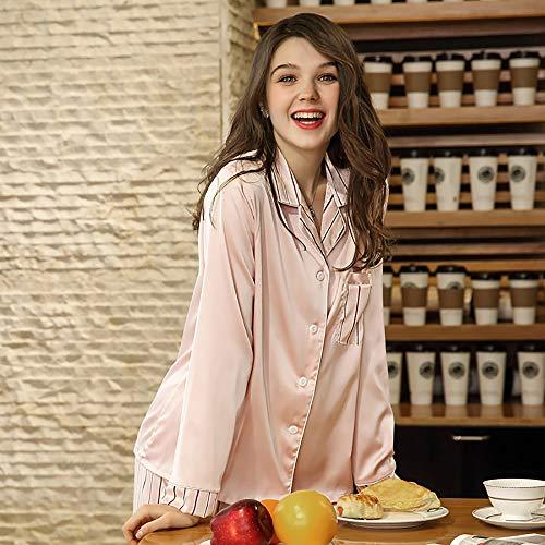 Mujer Seda De M Camisón Casual xl Manga Xl rosa Larga Pijamas Camisa Conjunto tamaño Y Botón Ropa Con Satén Bolsillo Pantalones O5wxdqtT