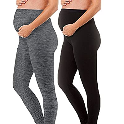 - 2 Pack Gift Set - Stretch Maternity Leggings Seamless Solid Color Nursing Clothes Tights