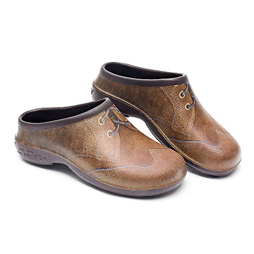 Backdoorshoes Waterproof Premium Garden Clogs with Arch Support-Brogue Design (13) by Backdoorshoes