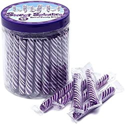 Sweet Spindles Mini Hard Candy Sticks - 50-Piece Jar (Purple)