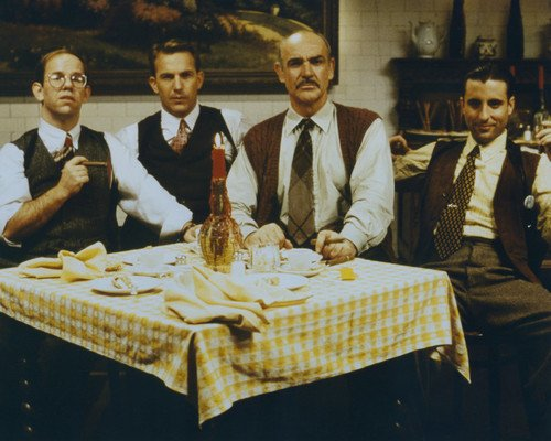 Sean Connery and Kevin Costner and Andy Garcia and Charles Martin Smith in The Untouchables in restaurant 8x10 Promotional Photograph