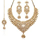 I Jewels Kundan Necklace Set with Maang Tikka for Women K7023W (White)