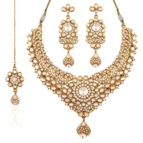 I Jewels Kundan Necklace Set with Maang Tikka for Women K7023W (White) by I Jewels