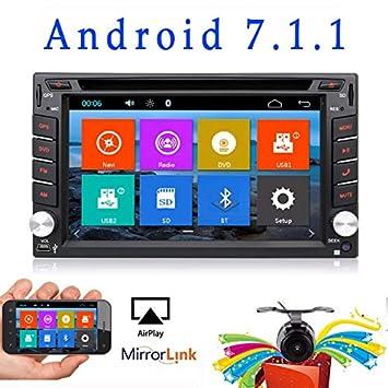Reproductor de DVD para el coche Versión WIFI actualizada modelo Android 6.0 QURE Core doble Din GPS navegación estéreo para coche universal con cámara.