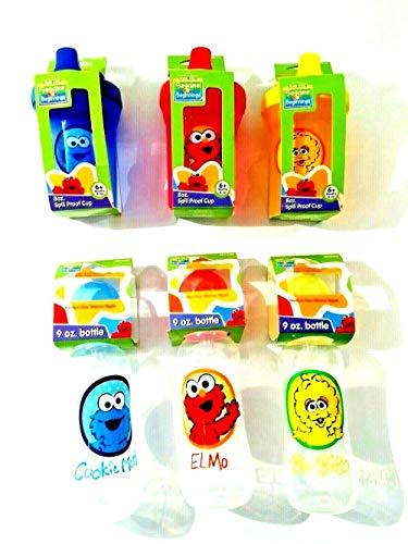 Sesame Street Beginnings 9 oz. Baby Bottle & 8 oz. Spill Proof Sippy Cup 6 Pack Bundle, Cookie Monster,Elmo, Big - Street Cups Beginnings Sesame