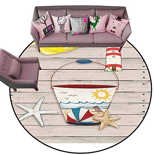 """Designed Kitchen Bathroom Floor Mat Colorful Abstract Painting, a Fish and Starfish, and a Bucket. Diameter 60"""" Round Kids Rugs for playroom"""