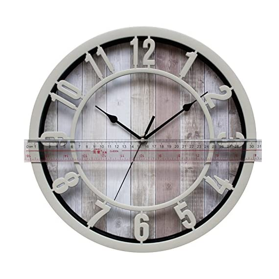 SUNBRIGHT 12 Inch Rustic Decorative Noiseless Wall Clock Silent Non-Ticking for Home, Office, School, Cream - Wall clock features cream Plastic round frame, and like natural solid wooden look printed background Large numerals and black analog contrast with background make you easy to read Quiet sweep second hand, no ticking for peace and quiet.Quartz movements guarantee an accurate time. - wall-clocks, living-room-decor, living-room - 51ZJIu8FE L. SS570  -
