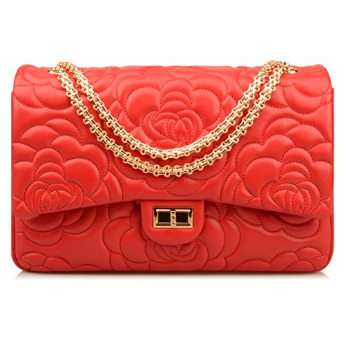 Ainifeel Women's Quilted Oversize Genuine Leather Shoulder Handbag Hobo Bag Purse (X-Large, Flower (red gold hardware))
