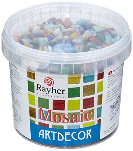 RAYHER 1453049 Mosaiksteine, 1 cm, Eimer circa 1300 Stück / 1 kg, bunt gemischt