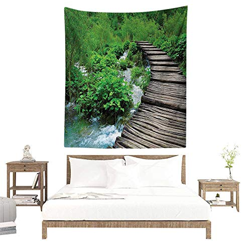 - alisoso Wall Art Tapestry,House Decor,Path and Waterfall Board in Croatia Cascade Garden Lake Fence Peaceful View W40 x L60 inch Tapestry for Dorms