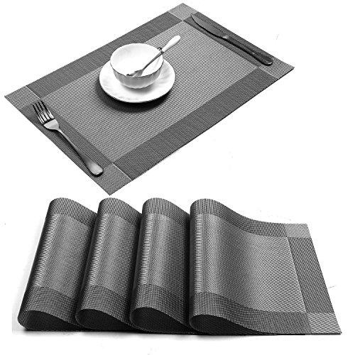 Placemat,U'Artlines Crossweave Woven Vinyl Non-slip Insulation Placemat Washable Table Mats (Grey, 4pcs placemats) (Placemats For Dining Table)