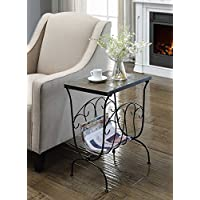 4D Concepts Magazine End Table with Slate Top, Metal/ Slate