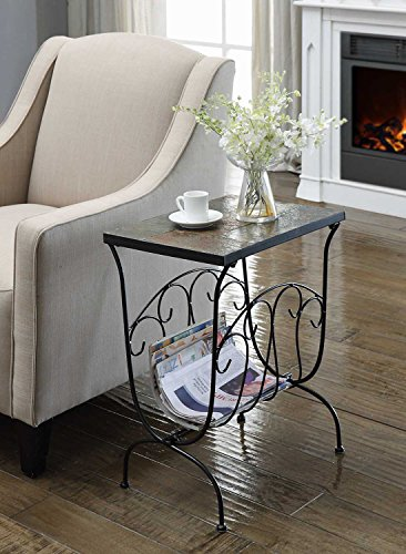 4D Concepts Magazine End Table with Slate Top, Metal/Slate