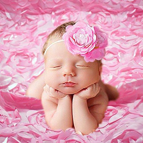 Newborn Baby Photography Photo Props 3D Rose Flower Backdrop Beanbag Blanket Rug (Pink)