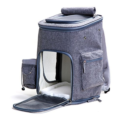 FurryTastic Luxury Airline Approved Pet Carrier Backpack with Zipper Locker and Leash Hook Collapsible Dog Carrier Best Cat Carrier for Small Breed Dogs Cats Kittens and Puppies(Grey)