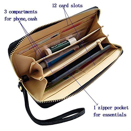 Women Wristlet Wallet - Sequined Clutch Bag with Zipper Closure - Black, by Beaulegan by BEAULEGAN (Image #2)