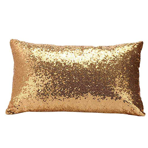 TWGONE Rose Gold Sequin Pillow Cover Sofa Bed