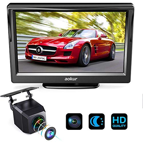 Aokur Backup Camera TFT LCD Monitor Kit, Wired 120° Wide Waterproof Starlight Night Vision Camera for Car/SUV/RV/Truck/Van/Camper License Plate Rear View Camera Parking Assistance ()