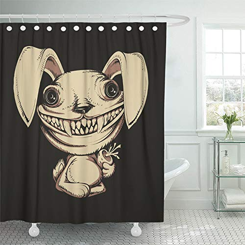 Emvency Shower Curtain Set Waterproof Adjustable Polyester Fabric Animal Cartoon Scary Rabbit Bunny Character Crazy Demon Face Fear Halloween 72 x 72 Inches Set with Hooks for Bathroom