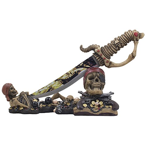 Caribbean-Skeleton-Pirates-Knife-Display-Stand-Statue-with-Skull-and-Crossbones-for-Tropical-Nautical-Decor-Dagger-Holders-or-Spooky-Halloween-Decorations-As-Buccaneer-Gifts