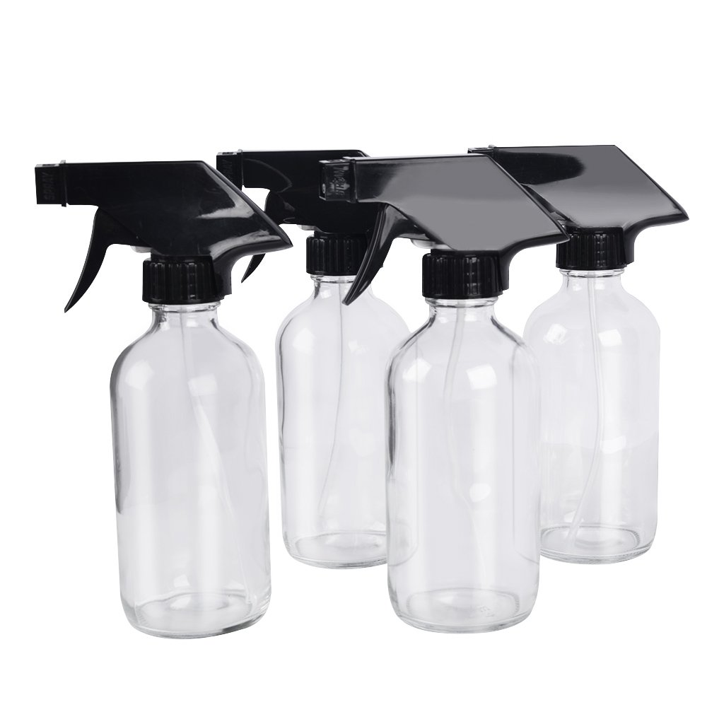 4 pack 8 oz Clear Glass Spray Bottle Bottles with Black Trigger Sprayer. Refillable Bottle for Essential Oils, Cleaning Products, Aromatherapy, Organic Beauty Products.Stream and Spray Settings Available.(4 Free Chalk as gifts) StarSide