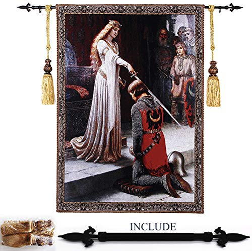 Classic Wall Tapestry Inclued Rod & Tassels Tieb - Woven Tapestry Wall Art Hanging for Living Room & Office Decor - Knight award Eternal Ornate Life, Heaven and Earth - - Wall Hanging Fine Rods Art
