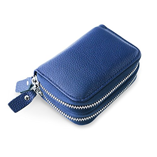 Fmeida RFID Blcoking Credit Card ID Holder Leather Change Purse for Women(Blue) (Change Purse Hardware)