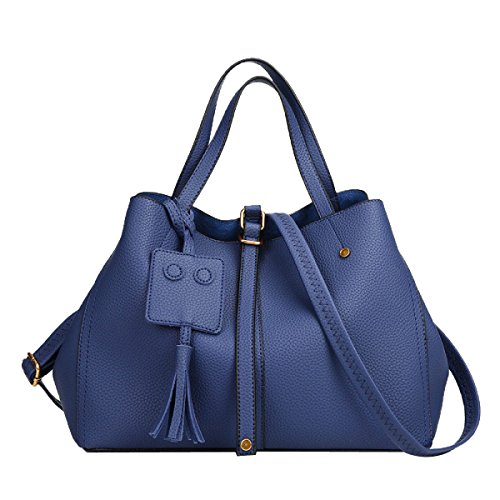 Bolso De La Manera De La Señora Simple Lychee Texturizado Bolso De Hombro De Cuero Satchel Para Las Mujeres Azul