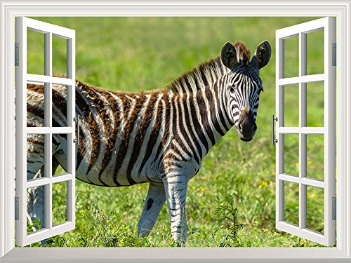 Removable Wall Sticker Wall Mural Open Field with a Zebra Walking by Creative Window View Wall Decor