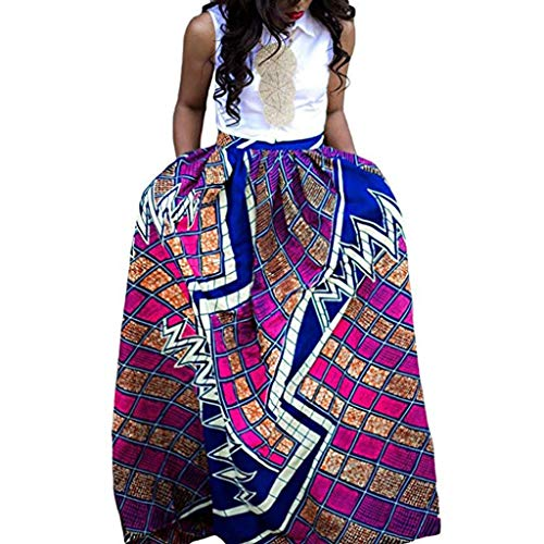 WOCACHI Skirt for Womens, Womens Fashion Leisure African Flower Long Skirt High Waist A-line Long Skirt Trendy Halter Backless Hollow Out Long Sleeve Sleeveless Strap Strapless Lace Bodycon