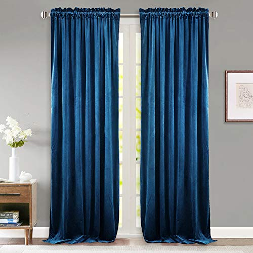 Blue Velvet Curtains - StangH Blue Velvet Drape Curtains - Thick Heavy Duty Blackout Noise Reduction Velvet Curtains with Dual Rod Pocket for Bedroom, W52 x L84-inch, 2 Panels