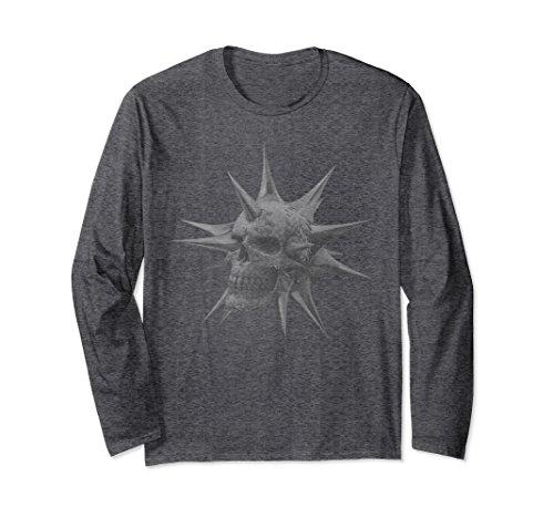 Unisex Skull Long Sleeved T Shirt Medium Dark Heather (Skull Long Sleeved)