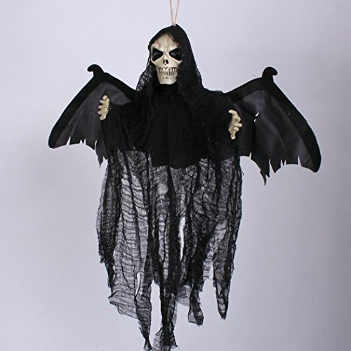 Oksale® Sound Control Creepy Scary Animated Skeleton Ghost Halloween Party Decorationfor for KTV Bar Haunted House (Black) - Viking Princess Costume Plus Size