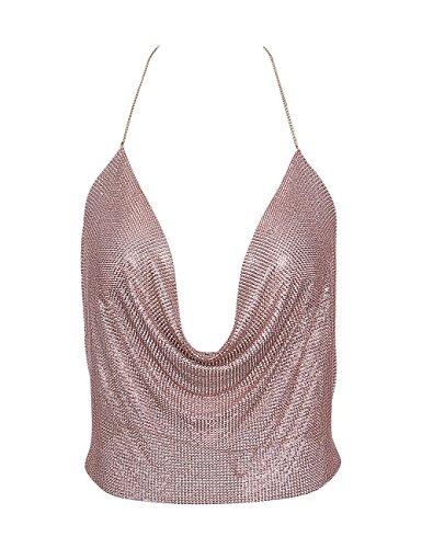 Gogoboi Nightclub See Through Deep V Halter Top Metal Sequins Crop Top Sexy Club Wear for Women (Rose gold)