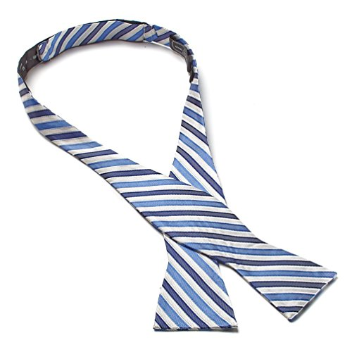 (Bruno Piattelli Silk Self-Tie Striped Bow Tie - Blue/White)