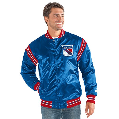STARTER NHL New York Rangers Men's The Enforcer Retro Satin Jacket, Large, Blue