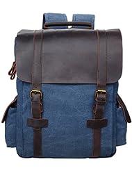 ALTOSY Canvas Backpack Laptop Vintage Crazy Horse Leather Rucksack Travel Bag