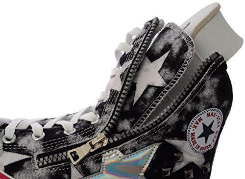 US Double Maxstar B Studed High Insole Denim 7 8 Taller Womens Holes CN9 M Platform Black Top Sneakers wqagRq
