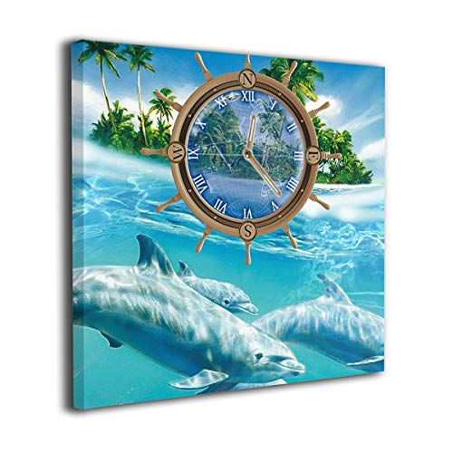 Jaylut Square Frameless Painting Print Artwork Dolphin Water Clock Drawing Picture Wall Decor for Home Office -