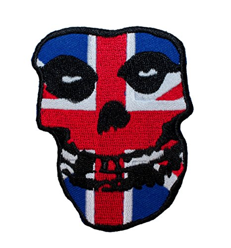 h / UK Flag Crimson Ghost Skull - Iron On Patch or Sew On Patch ()