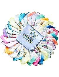 Forlisea Womens Beautiful Cotton Floral Handkerchief Wendding Party Fabric Hanky