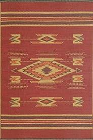 Mad Mats Navajo Indoor/Outdoor Floor Mat, 4 by 6-Feet, Dark Red