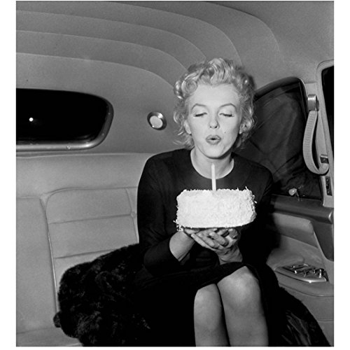 Marilyn Monroe Happy Birthday Blowing Out Cake Candle in Car 8 x 10 Inch Photo