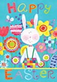 Happy Easter Bunny Floral Double Sided House Flag 28 x 40
