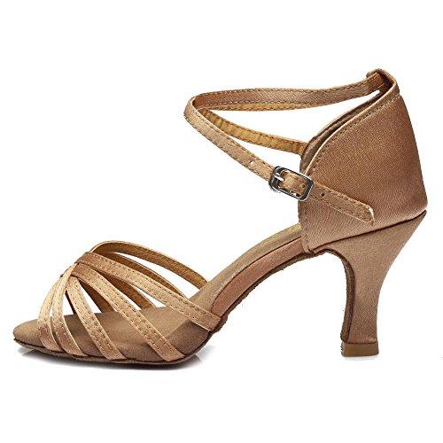 YFF Women's Tango Ballroom Latin Dance Shoes heeled ,7CM heels Beige,5