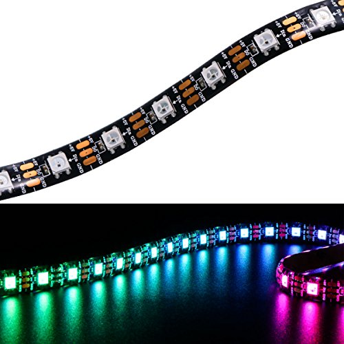 Price comparison product image WIXURE WS2812B LED Strip Light Individually Addressable Programmable WS2811 Built-in 5050 RGB DC5V Dream Color LED Rope Light(13.1ft / 4m 60leds / m Black PCB Waterproof IP65)