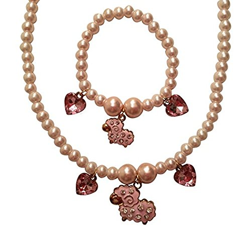 EverKid Bracelet & Necklace Set for Girls - Lamb and Heart Charms on Stretchable Beads Strands - Gift -