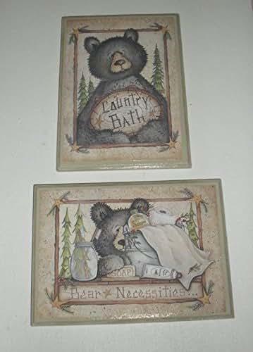 Amazon.com: Black Bear Country Bath Wood WALL Plaques