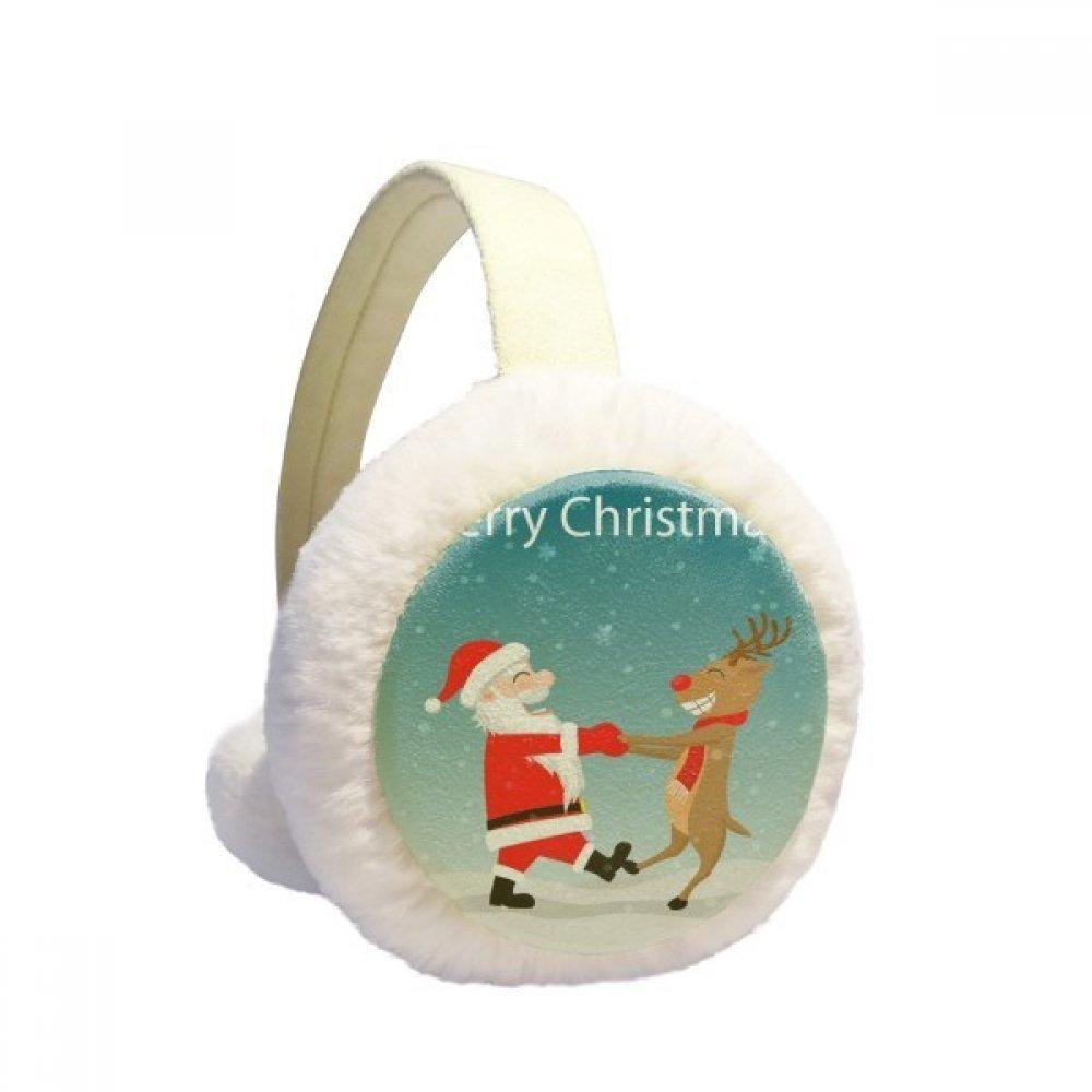 Christmas Santa Claus Elk Festival Winter Earmuffs Ear Warmers Faux Fur Foldable Plush Outdoor Gift